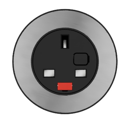 Pip In-Surface Panel Mounted 1 x UK Socket Small Power Module - Brushed Inlay - Black