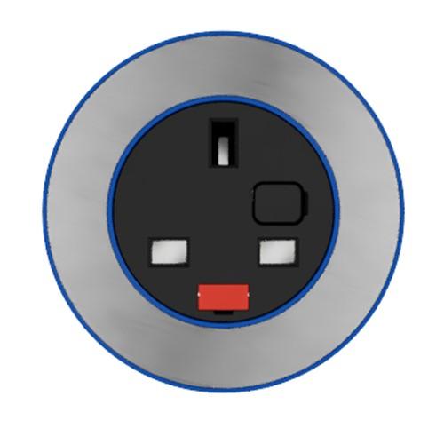 Pip In-Surface Panel Mounted 1 x UK Socket Small Power Module - Brushed Inlay - Dark Blue