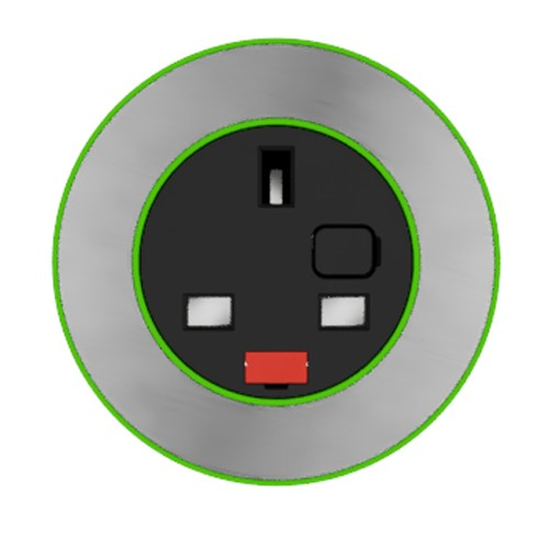 Pip In-Surface Panel Mounted 1 x UK Socket Small Power Module - Brushed Inlay - Light Green