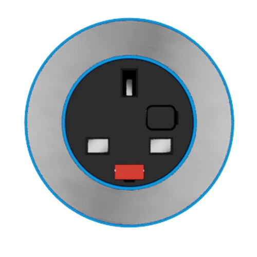 Pip In-Surface Panel Mounted 1 x UK Socket Small Power Module - Brushed Inlay - Light Blue
