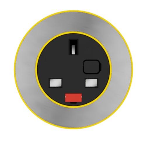 Pip In-Surface Panel Mounted 1 x UK Socket Small Power Module - Brushed Inlay - Light Orange