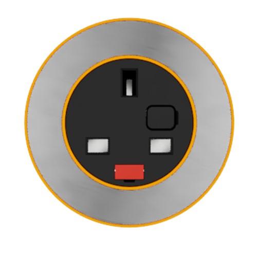 Pip In-Surface Panel Mounted 1 x UK Socket Small Power Module - Brushed Inlay - Orange
