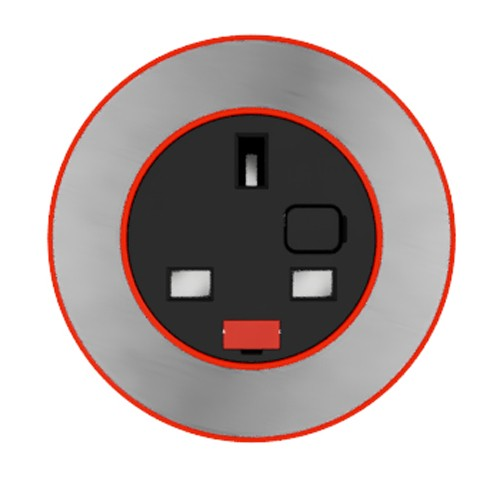 Pip In-Surface Panel Mounted 1 x UK Socket Small Power Module - Brushed Inlay - Red