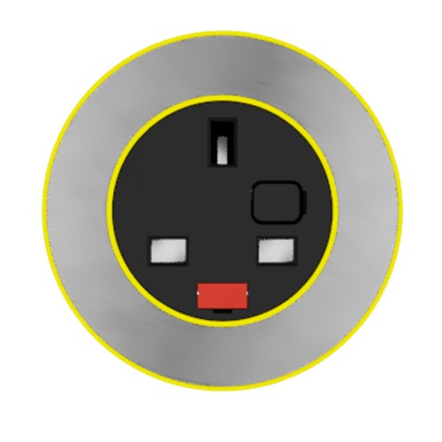 Pip In-Surface Panel Mounted 1 x UK Socket Small Power Module - Brushed Inlay - Yellow