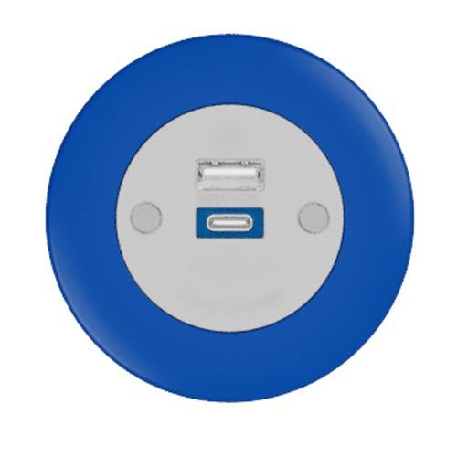 Pip In-Surface Panel Mounted 1 x TUF-R (USB-A + USB-C Charging) Small Power Module - Bevelled - Dark Blue