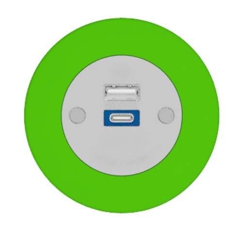 Pip In-Surface Panel Mounted 1 x TUF-R (USB-A + USB-C Charging) Small Power Module - Bevelled - Light Green