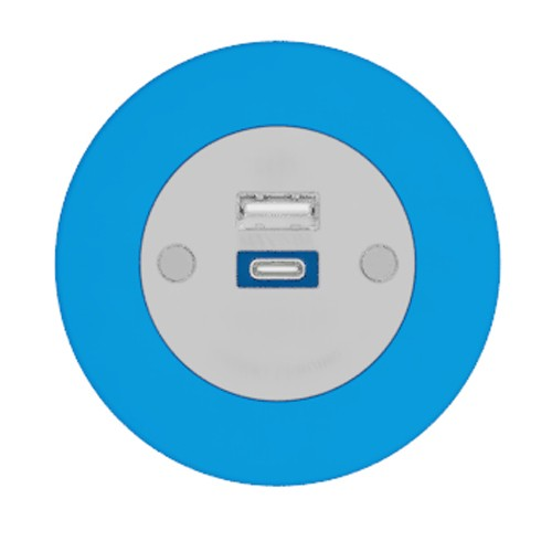 Pip In-Surface Panel Mounted 1 x TUF-R (USB-A + USB-C Charging) Small Power Module - Bevelled - Light Blue