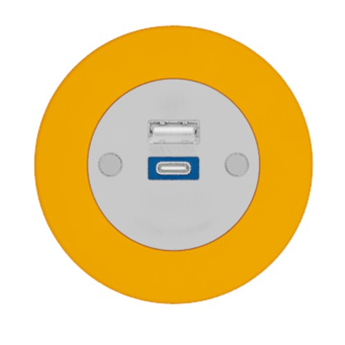 Pip In-Surface Panel Mounted 1 x TUF-R (USB-A + USB-C Charging) Small Power Module - Bevelled - Orange