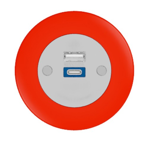 Pip In-Surface Panel Mounted 1 x TUF-R (USB-A + USB-C Charging) Small Power Module - Bevelled - Red