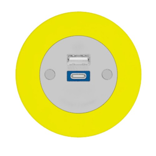 Pip In-Surface Panel Mounted 1 x TUF-R (USB-A + USB-C Charging) Small Power Module - Bevelled - Yellow