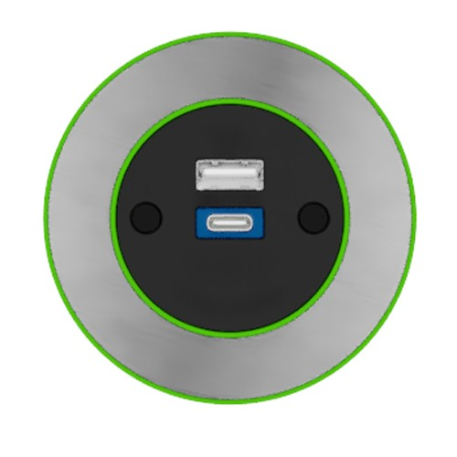 Pip In-Surface Panel Mounted 1 x TUF-R (USB-A + USB-C Charging) Small Power Module - Brushed Inlay - Light Green