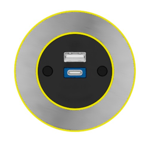 Pip In-Surface Panel Mounted 1 x TUF-R (USB-A + USB-C Charging) Small Power Module - Brushed Inlay - Yellow