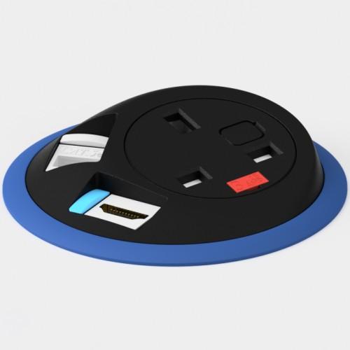 Pixel In-Surface Power Module with 1 x UK socket 1 x RJ45 Cat6 LAN Socket 1 x HDMI - Dark Blue and Black