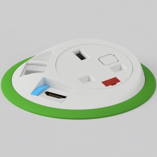 Pixel In-Surface Power Module with 1 x UK socket 1 x RJ45 Cat5e LAN Socket 1 x HDMI - Light Green and White