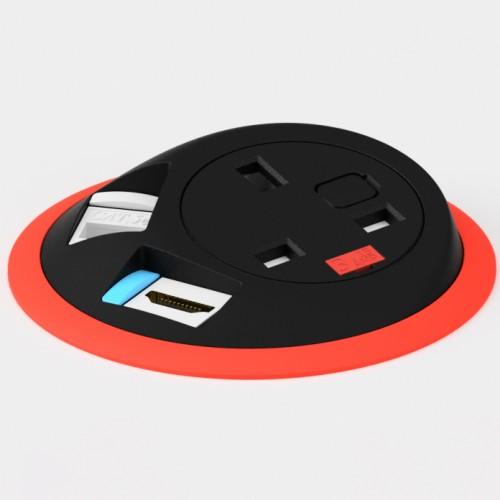 Pixel In-Surface Power Module with 1 x UK socket 1 x RJ45 Cat6 LAN Socket 1 x HDMI - Red and Black