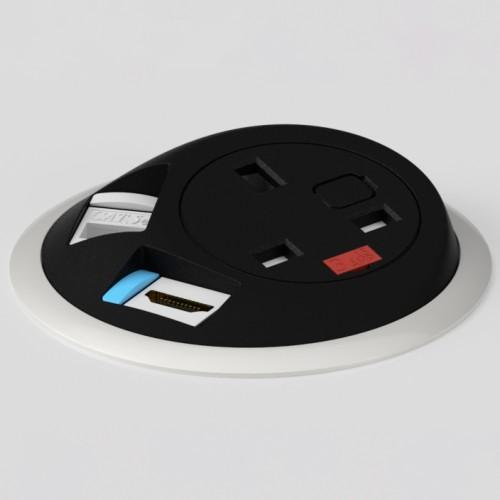 Pixel In-Surface Power Module with 1 x UK socket 1 x RJ45 Cat6 LAN Socket 1 x HDMI - Black