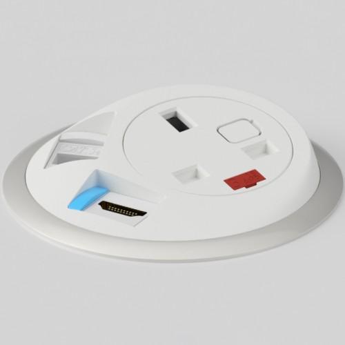 Pixel In-Surface Power Module with 1 x UK socket 1 x RJ45 Cat5e LAN Socket 1 x HDMI - White