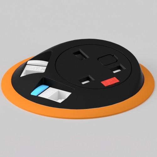 Pixel In-Surface Power Module with 1 x UK socket 2 x RJ45 Cat5e LAN Sockets - Orange and Black