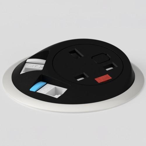 Pixel In-Surface Power Module with 1 x UK socket 2 x RJ45 Cat6 LAN Sockets - Black