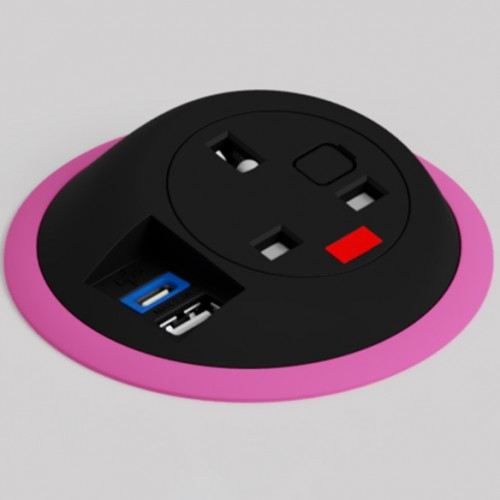 Pixel In-Surface Power Module with TUF (USB A + C Charging) - Hot Pink and Black