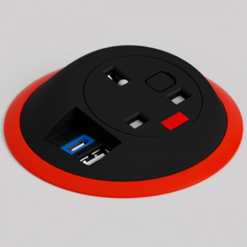 Pixel In-Surface Power Module with TUF (USB A + C Charging) - Red and Black
