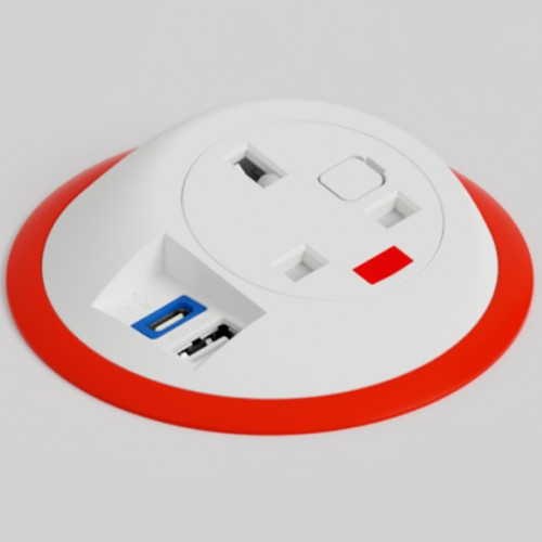 Pixel In-Surface Power Module with TUF (USB A + C Charging) - Red and White