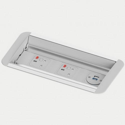 Platinum 2 x UK FUSED Socket, 1 x TUF-R (USB A + USB C) Hidden Rotating Power Module
