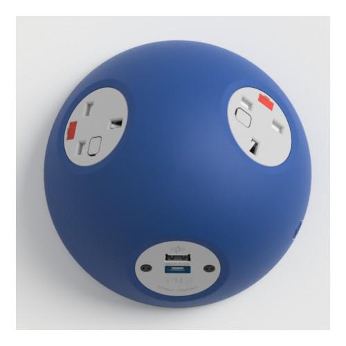Pluto Satin Dark Blue In-Surface Power Unit 2 x UK FUSED socket, 1 x USB TUF-R (A+C)