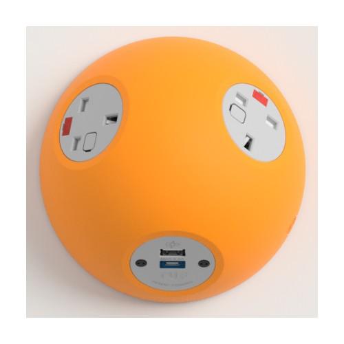 Pluto Satin Orange In-Surface Power Unit 2 x UK FUSED socket, 1 x USB TUF-R (A+C)