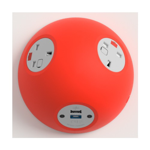Pluto Satin Red In-Surface Power Unit 2 x UK FUSED socket, 1 x USB TUF-R (A+C)