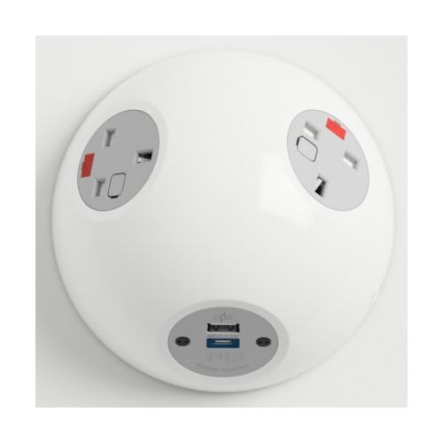 Pluto Satin White In-Surface Power Unit 2 x UK FUSED socket, 1 x USB TUF-R (A+C)