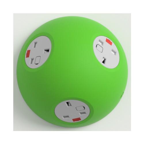 Pluto Satin Light Green In-Surface Power Unit 3 x UK FUSED socket
