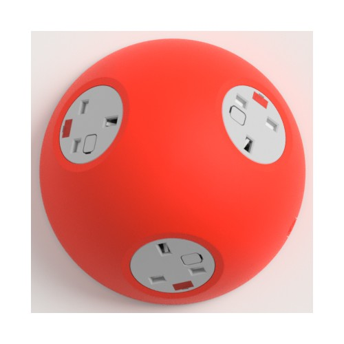 Pluto Satin Red In-Surface Power Unit 3 x UK FUSED socket