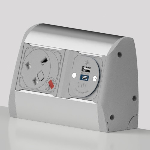 Poco Surface Mounted 1 x UK FUSED Socket, 1 x TUF-R (USB A+ USB C) Power Module