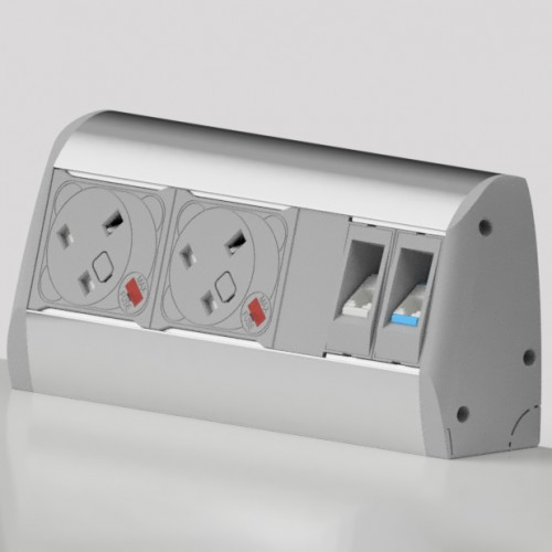 Poco Surface Mounted 2 x UK FUSED Socket, 2 x RJ45 Outlet Cat6 Power and Data Module