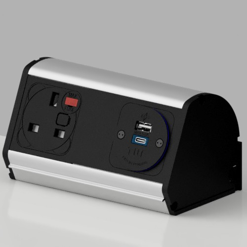 Pod On-Surface Desk Mounted Power Point 1 x UK FUSED socket, 1 x TUF-R ( USB A+ USB C)