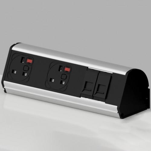 Pod On-Surface Desk Mounted Power Point 2 x UK FUSED socket, 2 x RJ45 LAN Port Cat5e