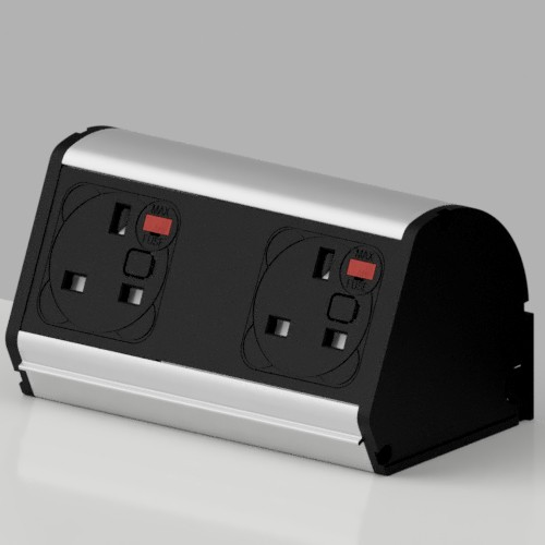 Pod On-Surface Desk Mounted Power Point 2 x UK FUSED socket