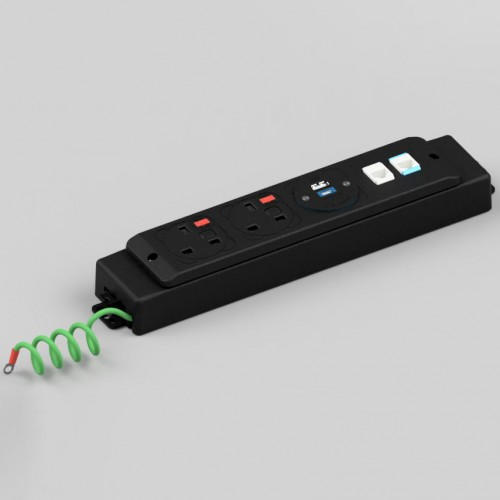 PowerUnit 2 x UK FUSED Socket, 1 x TUF-R (USB A + USB C), 2 x 3M RJ45 LAN CAT5e, GST18/3 Power Entry Under Surface Power/Data Module
