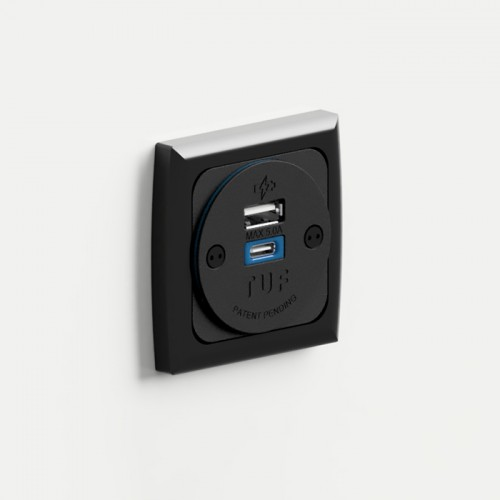Proton In-Surface Panel Mounted Power Module with 1 x TUF-R (USB-A + USB-C) - Gloss Black
