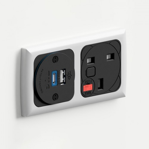 Proton In-Surface Panel Mounted Power Module with 1 x UK Socket 1 x TUF-R (USB-A + USB-C) - Matte Silver