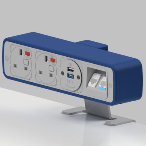 Pulse 2 x UK FUSED socket, 1 x TUF-R (USB A+ USB C), 2 x RJ45 Cat5e LAN Socket On-Surface Power and Data Module - White/Dark Blue