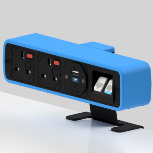 Pulse 2 x UK FUSED socket, 1 x TUF-R (USB A+ USB C), 2 x RJ45 Cat5e LAN Socket On-Surface Power and Data Module - Black/Light Blue
