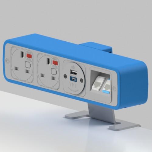 Pulse 2 x UK FUSED socket, 1 x TUF-R (USB A+ USB C), 2 x RJ45 Cat5e LAN Socket On-Surface Power and Data Module - White/Light Blue