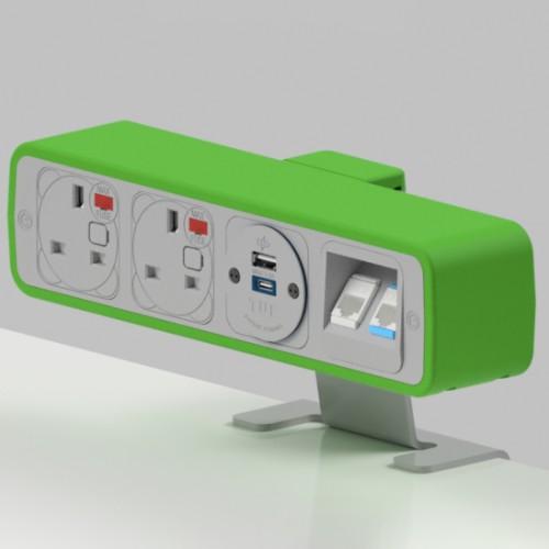 Pulse 2 x UK FUSED socket, 1 x TUF-R (USB A+ USB C), 2 x RJ45 Cat5e LAN Socket On-Surface Power and Data Module - White/Light Green
