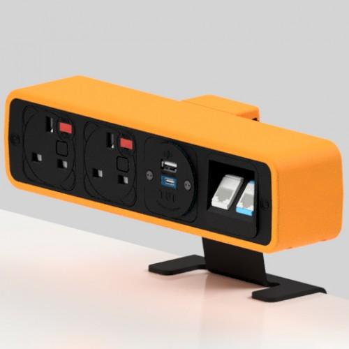 Pulse 2 x UK FUSED socket, 1 x TUF-R (USB A+ USB C), 2 x RJ45 Cat5e LAN Socket On-Surface Power and Data Module - Black/Orange