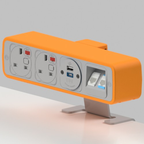 Pulse 2 x UK FUSED socket, 1 x TUF-R (USB A+ USB C), 2 x RJ45 Cat5e LAN Socket On-Surface Power and Data Module - White/Orange