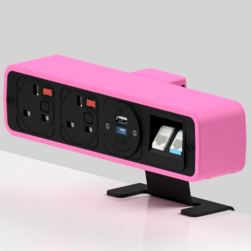 Pulse 2 x UK FUSED socket, 1 x TUF-R (USB A+ USB C), 2 x RJ45 Cat5e LAN Socket On-Surface Power and Data Module - Black/Hot Pink