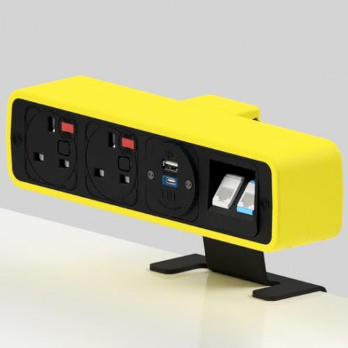 Pulse 2 x UK FUSED socket, 1 x TUF-R (USB A+ USB C), 2 x RJ45 Cat6 LAN Socket On-Surface Power and Data Module - Black/Yellow