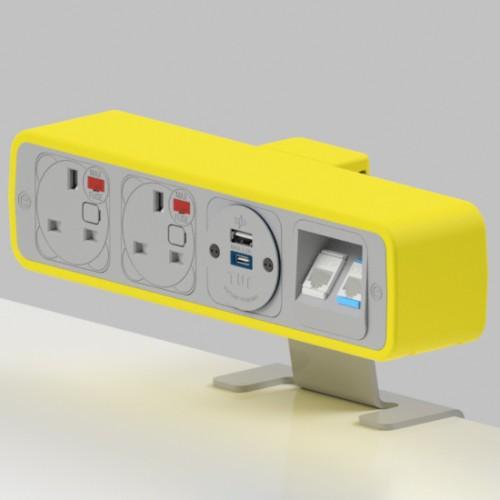 Pulse 2 x UK FUSED socket, 1 x TUF-R (USB A+ USB C), 2 x RJ45 Cat6 LAN Socket On-Surface Power and Data Module - White/Yellow